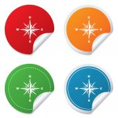 Compass sign icon. Windrose navigation symbol. — Stok Vektör