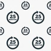 Every 25 minutes sign icon. Full rotation arrow. — Stock Vector