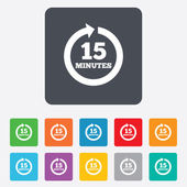 Every 15 minutes sign icon. Full rotation arrow. — Stockvektor