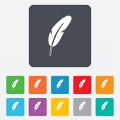 Feather sign icon. Retro pen symbol. — Stockvector