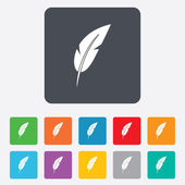 Feather sign icon. Retro pen symbol. — 图库矢量图片