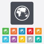 地球标志图标。世界地图地理标志. — 图库矢量图片