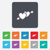 Hearts with arrow sign icon. Love symbol. — Wektor stockowy