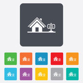 Home sign icon. House for sale. Broker symbol. — Stock Vector