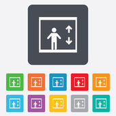 Elevator icon. Person symbol with up down arrows — Cтоковый вектор