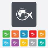 Airplane sign icon. Travel trip symbol. — Wektor stockowy