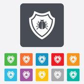 Shield sign icon. Virus protection symbol. — ストックベクタ
