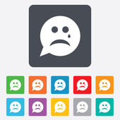 Sad face with tear sign icon. Crying symbol. — Stock Vector