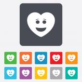 Smile heart face icon. Smiley symbol. — ストックベクタ