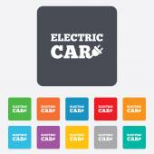 Electric car sign icon. Electric vehicle symbol — Stock Vector