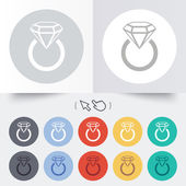Jewelry sign icon. Ring with diamond symbol. — Vettoriale Stock