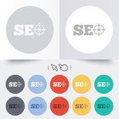 SEO sign icon. Search Engine Optimization symbol. — Stok Vektör