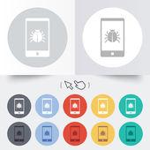 Smartphone virus sign icon. Software bug symbol. — Vetor de Stock