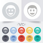 Smile face icon. Smiley with hairstyle symbol. — Vector de stock