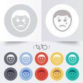 Sad face with tear sign icon. Crying symbol. — 图库矢量图片