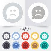 Triste ícone de sinal de face. símbolo tristeza. — Vetorial Stock