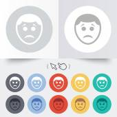 Sad face sign icon. Sadness symbol. — Stockvektor