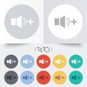 Luidspreker volume luider teken pictogram. geluid symbool. — Stockvector