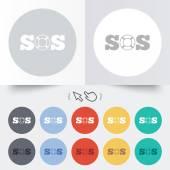 SOS sign icon. Lifebuoy symbol. — Stock Vector