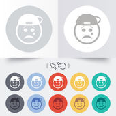 Sad rapper face with tear icon. Crying symbol. — Stock Vector