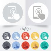 Touch screen smartphone sign icon. Hand pointer — Vector de stock