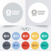 Video chat sign icon. Webcam video talk. — Vetorial Stock