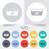Wash icon. Machine washable at 20 degrees symbol — Stock Vector