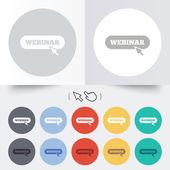 Webinar with cursor pointer sign icon. Web study — Stock Vector