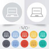 Webinar laptop sign icon. Notebook Web study. — Stock Vector
