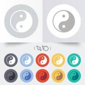 Ying yang sign icon. Harmony and balance symbol. — Stockvektor