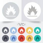 Fire flame sign icon. Heat symbol. — Vector de stock