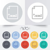 File document icon. Download XML button. — Stock Vector