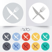 Food sign icon. Cutlery symbol. Knife and fork. — Stock Vector