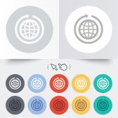 Globe sign icon. Round the world arrow symbol. — Stock Vector