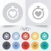 Heart Timer sign icon. Stopwatch symbol. — Vettoriale Stock