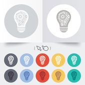 Light lamp sign icon. Bulb with gears symbol. — Stock Vector