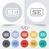 Swedish language sign icon. SE translation — Stock Vector