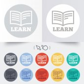 Learn Book sign icon. Education symbol. — Stok Vektör