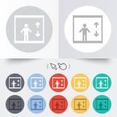 Elevator icon. Person symbol with up down arrows — Stock Vector