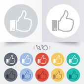 Like sign icon. Hand finger up symbol. — Stock Vector