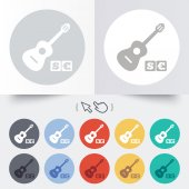 Acoustic guitar sign icon. Paid music symbol. — 图库矢量图片