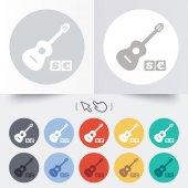 акустическая гитара знак значок. символ платных музыка. — Cтоковый вектор