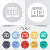 Icône de signe de livre de cuisine. symbole de livre de 10 recettes. — Vecteur