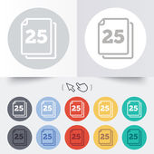 In pack 25 sheets sign icon. 25 papers symbol. — Wektor stockowy