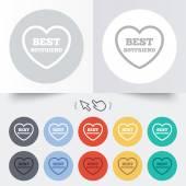 Best boyfriend sign icon. Heart love symbol. — Stock Vector
