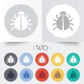 Bug sign icon. Virus symbol. Software bug error — Vector de stock