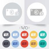 Cash sign icon. Euro Money symbol. Coin. — Stock Vector