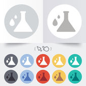 Chemistry sign icon. Bulb symbol with drops. — Stockvektor