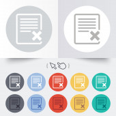 Delete file sign icon. Remove document symbol. — Vettoriale Stock