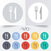 Eat sign icon. Cutlery symbol. Fork and knife. — Stock Vector